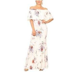 Just in!!!! Ivory floral off shoulder maxi dress